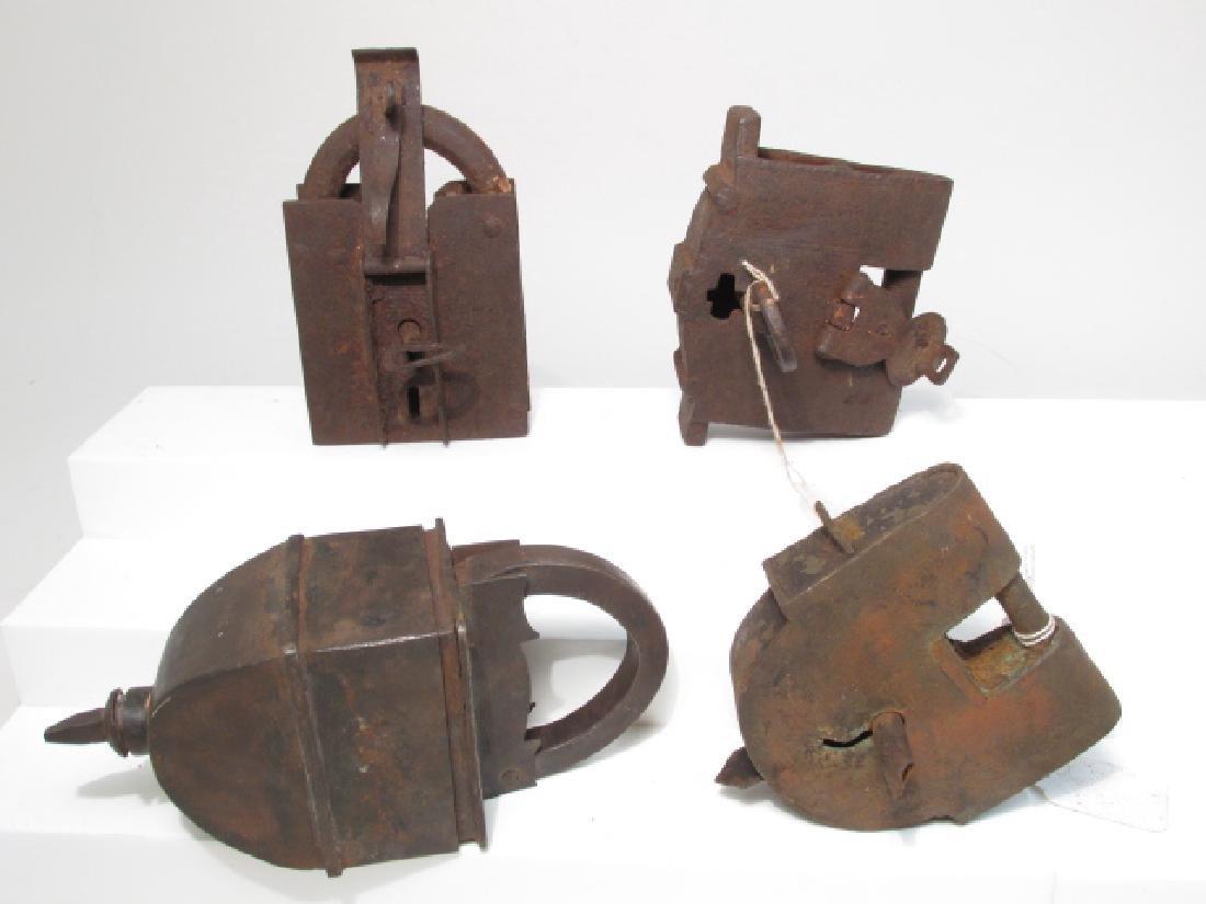 FOUR LARGE ANTIQUE STEEL PADLOCKS