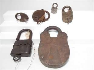 SIX ASSORTED ANTIQUE LOCKS: GERMAN, DAMM & LADWIG,
