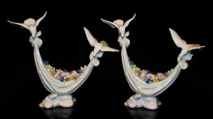 """TWO LLADRO FIGURINES """"PETALS OF PEACE"""" #6579"""