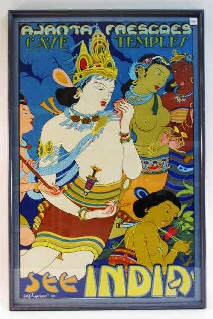 VINTAGE TRAVEL POSTER SEE INDIA AJANTA FRESCOES