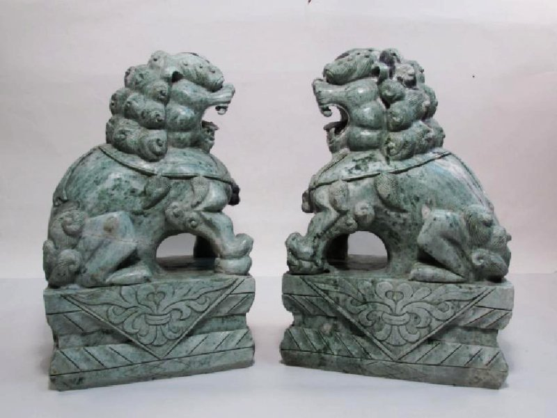 PAIR HEAVY CHINESE CARVED MARBLE FOO DOGS GUARDIAN
