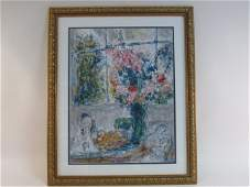 LARGE FRAMED DECORATIVE PRINT SIGNED MARC CHAGALL