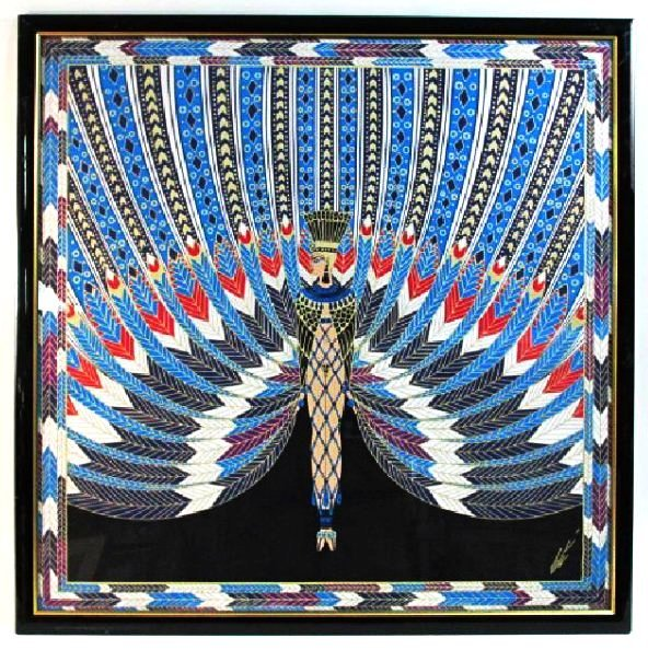 "ERTE FRAMED SILK SCARF - ""THE NILE"" 37"" X 37"""