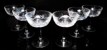 SIX FRENCH CRYSTAL CHAMPAGNE STEMS BY SAINT LOUIS