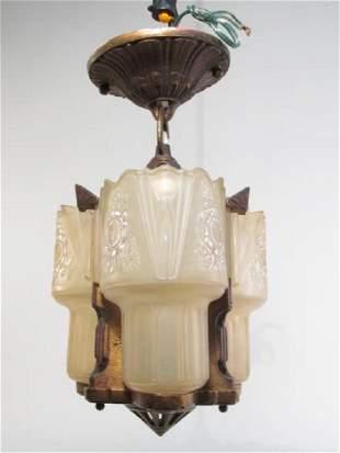 ART DECO PRESSED GLASS & METAL CEILING LIGHT