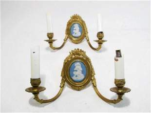 TWO ANTIQUE WEDGWOOD JASPERWARE SATYR MOUNTED SCONCES