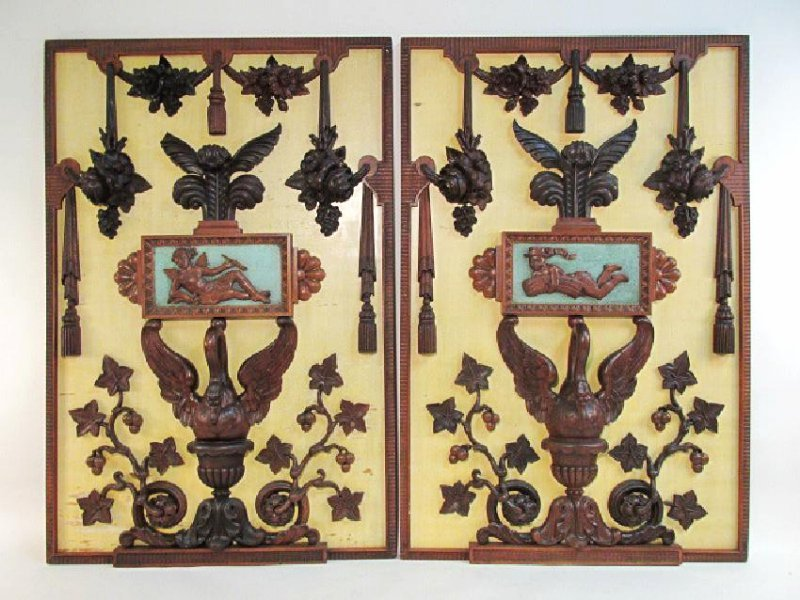 PAIR FRENCH HAND CARVED & PAINTED WOOD PANELS