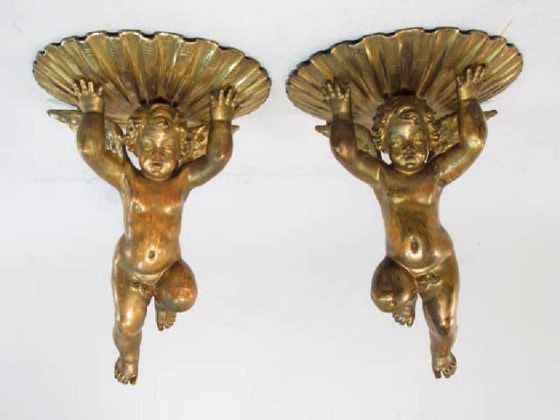PAIR FRENCH FIGURAL GILTWOOD CHERUB WALL BRACKETS
