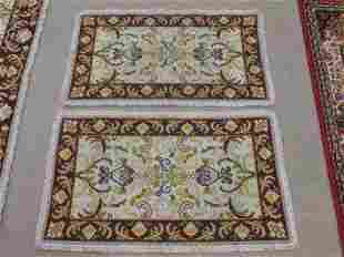 PAIR SMALL PORTUGUESE NEEDLEPOINT RUGS 23 X 40