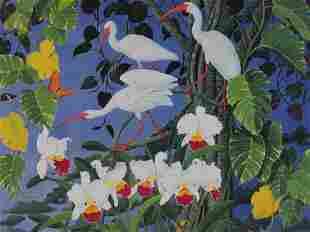 GICLEE PRINT OF THREE TROPICAL BIRDS