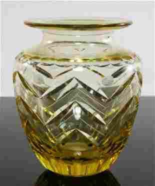 AMBER CUT ETCHED CZECHOSLOVAKIAN ART GLASS VASE