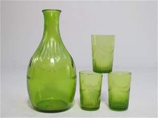 HAND BLOWN GLASS FOUR PIECE LIQUOR SET