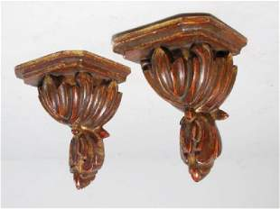 PAIR SMALL CARVED WOOD BRACKETS
