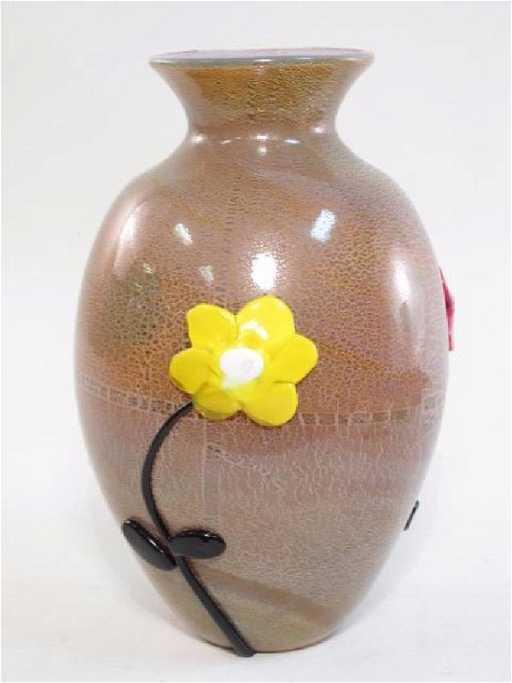 Murano Glass Vase By Franco Moretti
