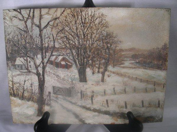315: VINTAGE PRIMITIVE LANDSCAPE SNOW SCENE PAINTING
