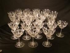 601: HAWKES CUT GLASS STEMWARE SIGNED 21 PCS