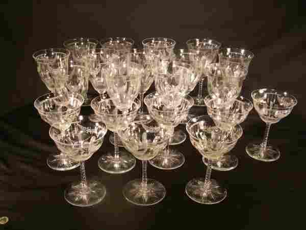 HAWKES CUT GLASS STEMWARE SIGNED 21 PCS