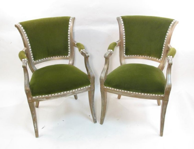 PAIR FRENCH REGENCY STYLE VELVET COVERED ARMCHAIRS