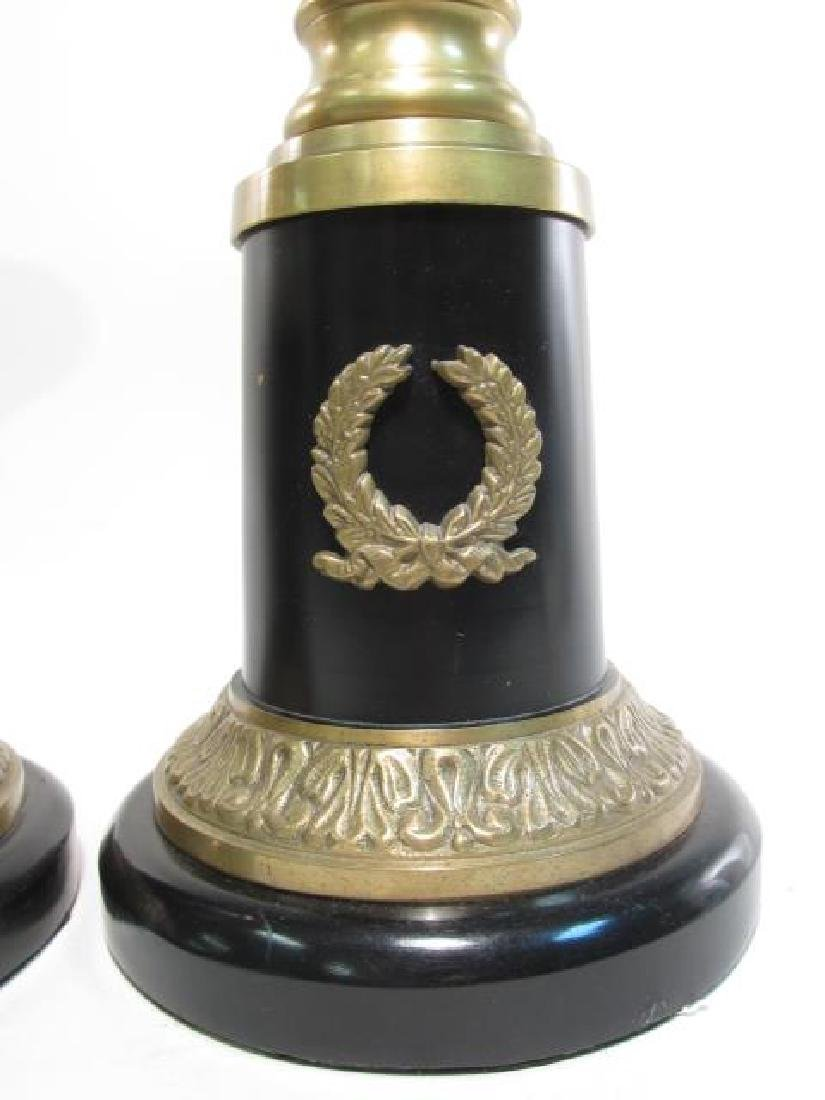 PAIR ANTIQUE EMPIRE LACQUERED BRASS CANDLESTICKS - 3