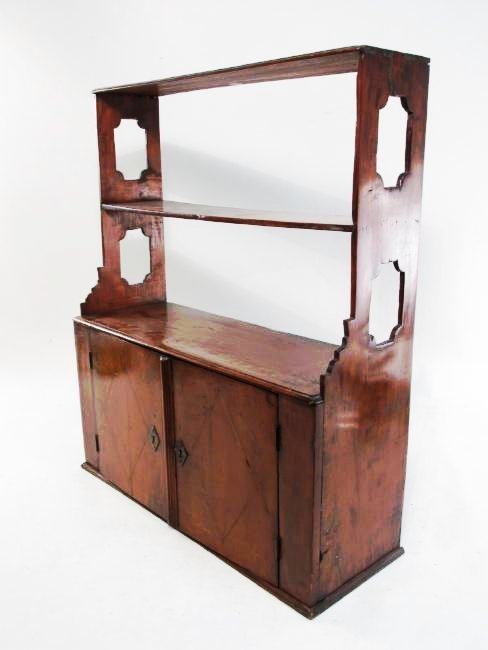 EARLY 19TH C CARVED CHERRYWOOD WALL SHELF