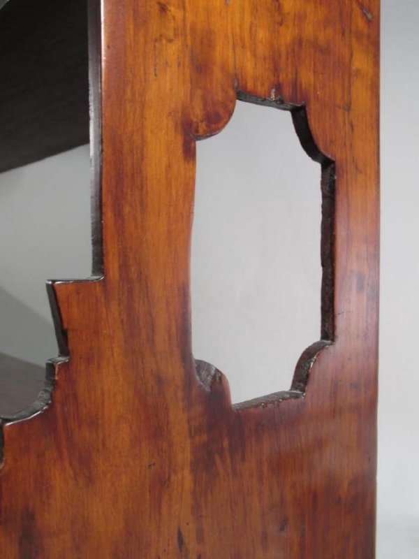 EARLY 19TH C CARVED CHERRYWOOD WALL SHELF - 2