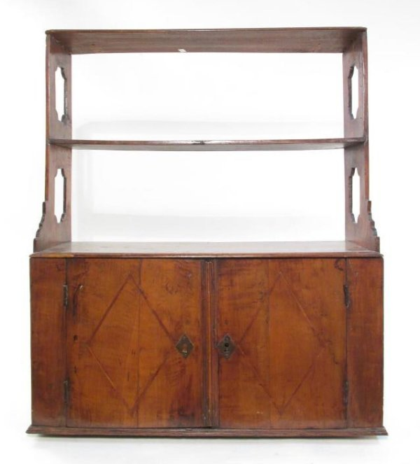 EARLY 19TH C CARVED CHERRYWOOD WALL SHELF - 3