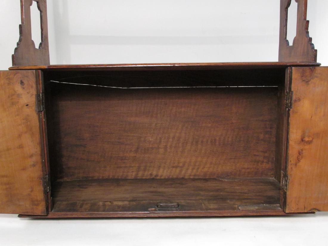 EARLY 19TH C CARVED CHERRYWOOD WALL SHELF - 5