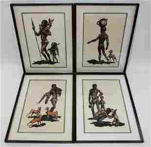 FOUR JOHN FULTON SHORT FRAMED  SIGNED LITHOGRAPHS