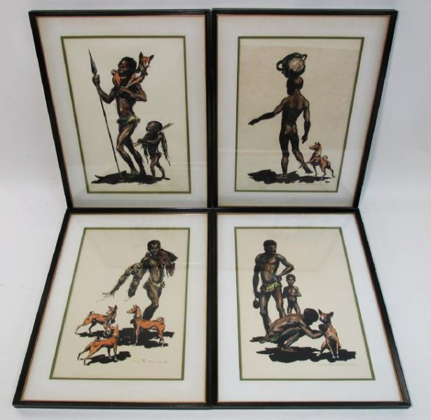 FOUR JOHN FULTON SHORT FRAMED & SIGNED LITHOGRAPHS