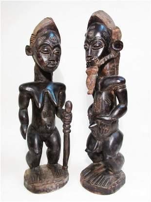 AFRICAN GUINEAN CARVED WOOD HUSBAND  WIFE SCULPTU
