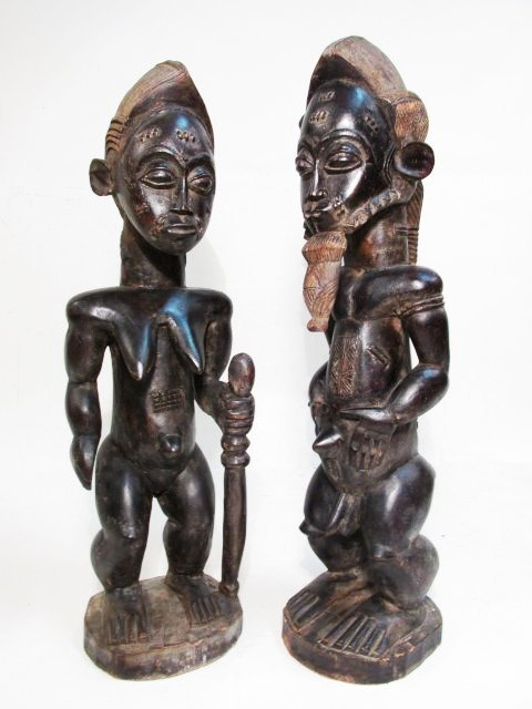 AFRICAN GUINEAN CARVED WOOD HUSBAND & WIFE SCULPTU