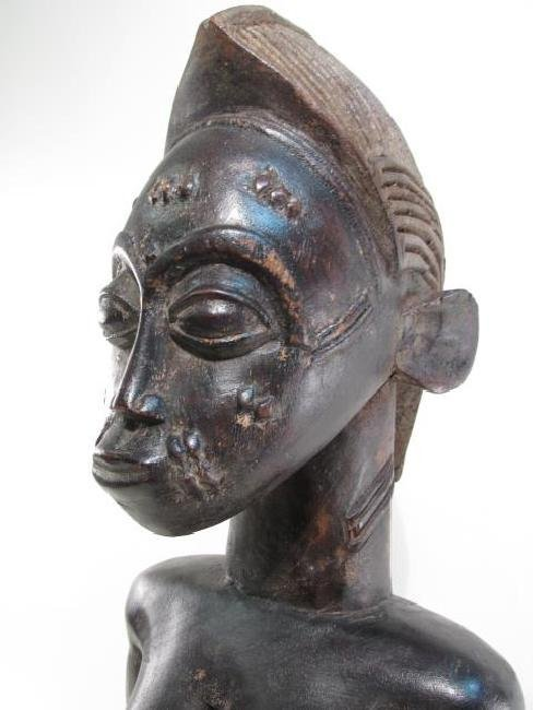 AFRICAN GUINEAN CARVED WOOD HUSBAND & WIFE SCULPTU - 3