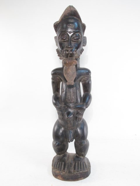AFRICAN GUINEAN CARVED WOOD HUSBAND & WIFE SCULPTU - 5