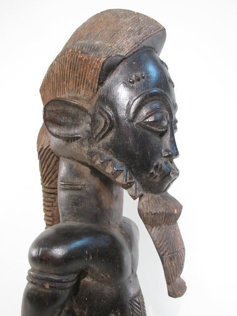 AFRICAN GUINEAN CARVED WOOD HUSBAND & WIFE SCULPTU - 6