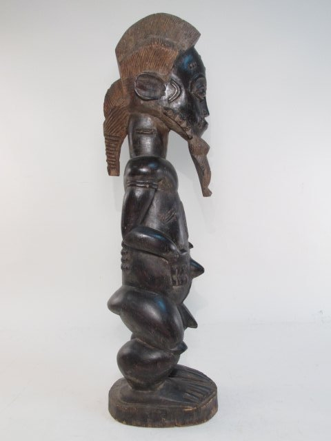 AFRICAN GUINEAN CARVED WOOD HUSBAND & WIFE SCULPTU - 7