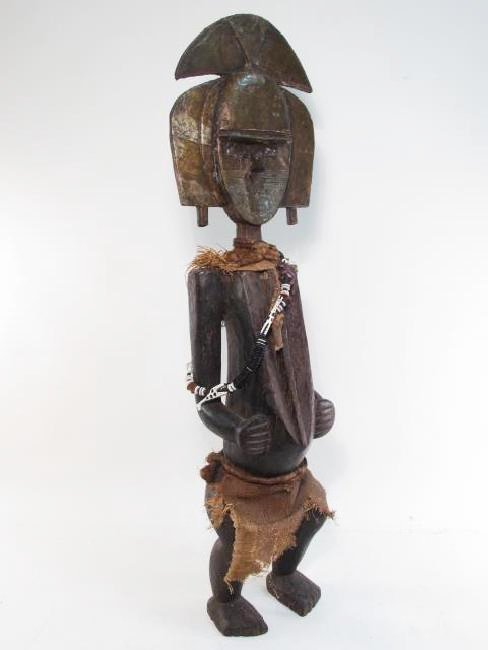 AFRICAN CARVED WOOD & METAL CLAD SPIRITUAL FIGURE