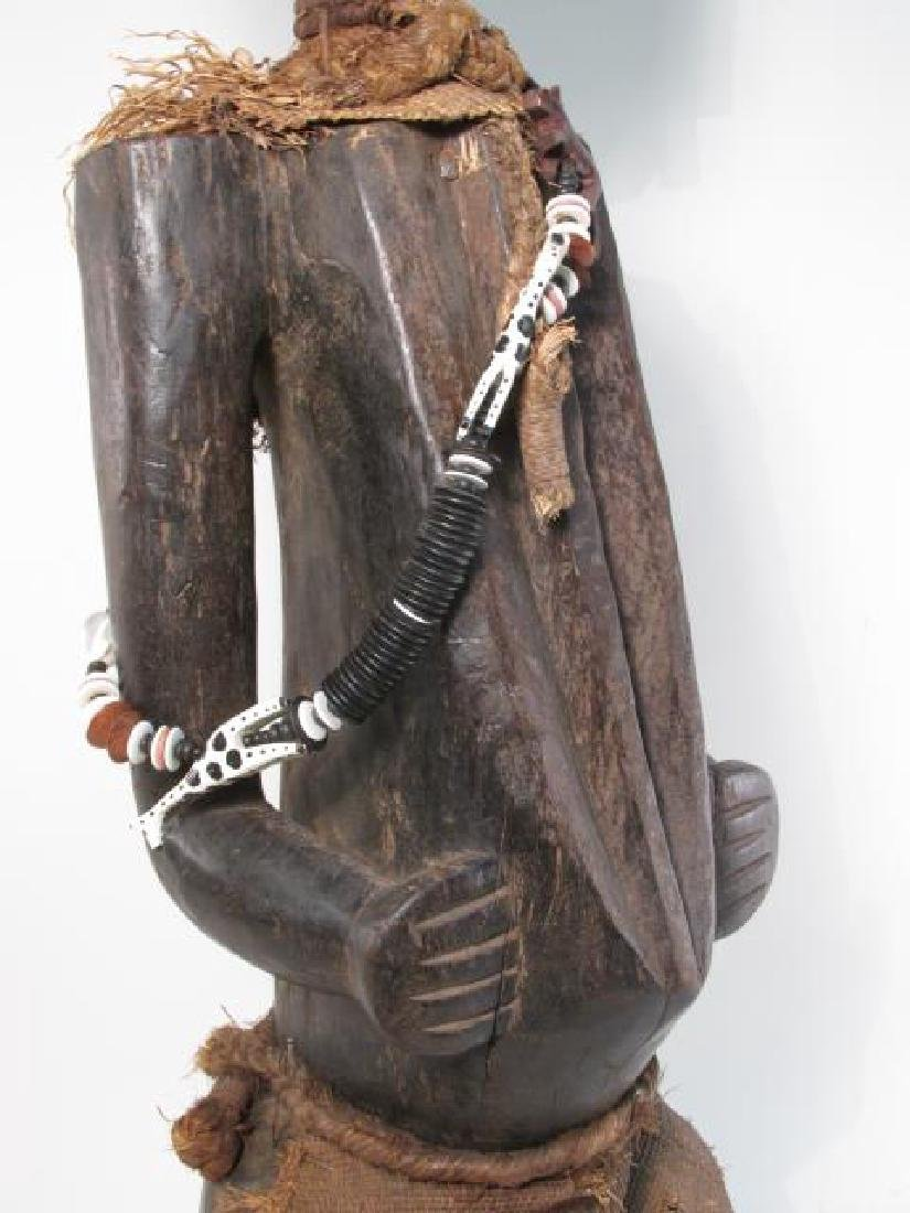 AFRICAN CARVED WOOD & METAL CLAD SPIRITUAL FIGURE - 3