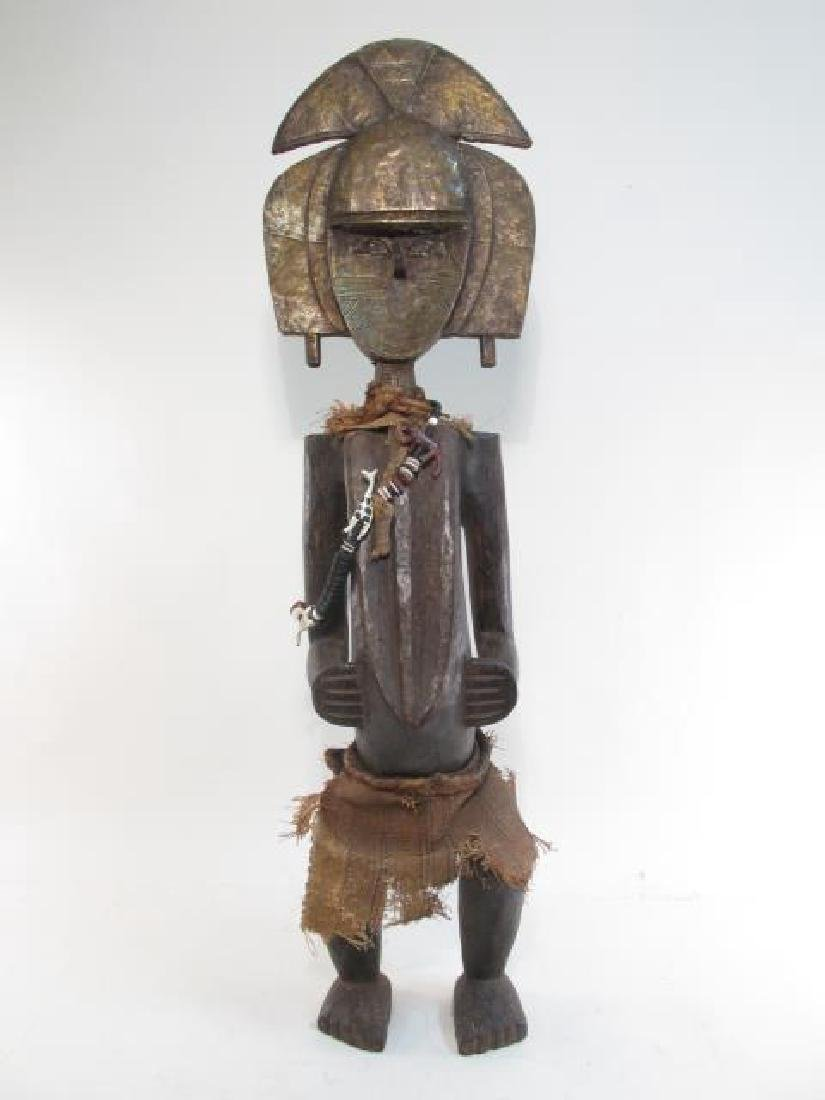 AFRICAN CARVED WOOD & METAL CLAD SPIRITUAL FIGURE - 5