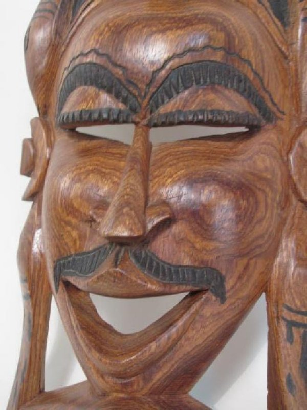 TWO TRIBAL STYLE CARVED WOOD MASKS - 3