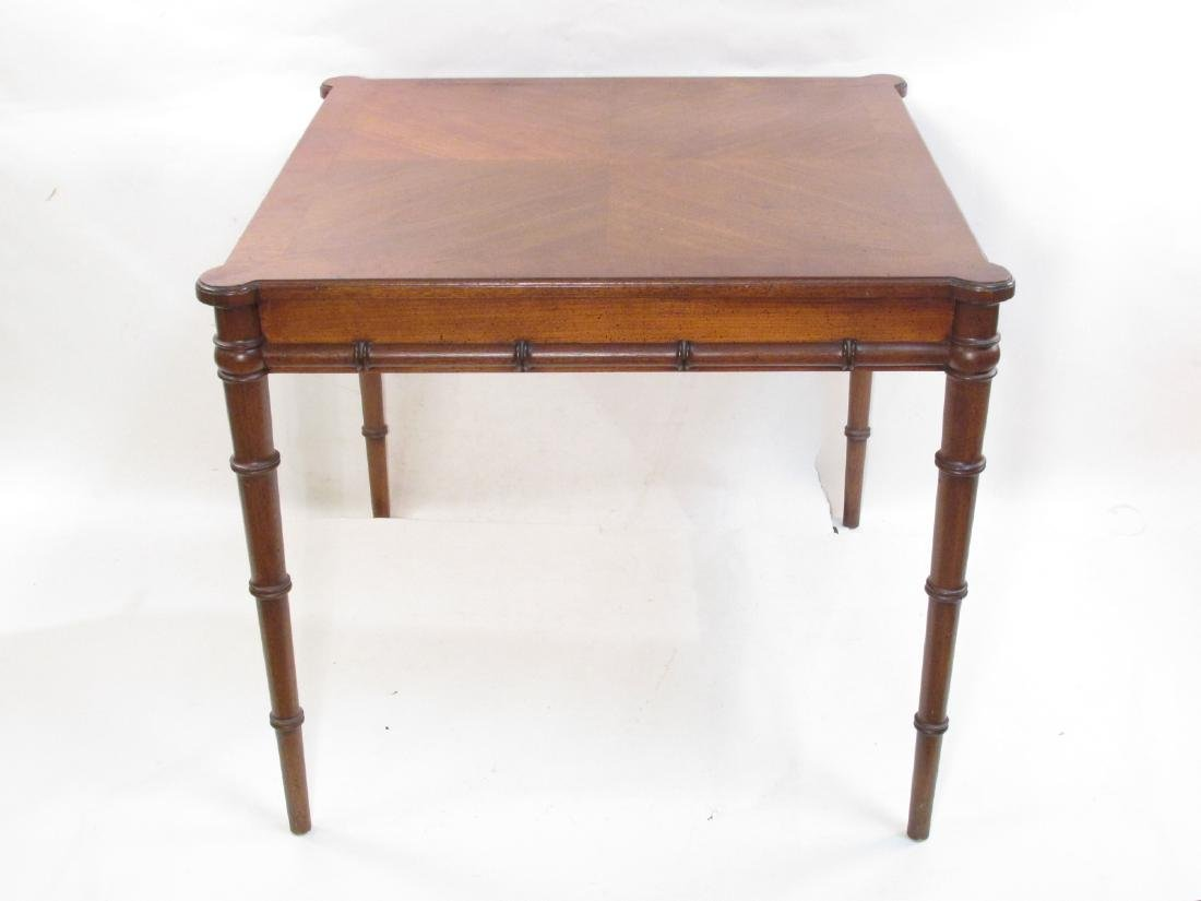 BAMBOO STYLE CARVED WALNUT CARD TABLE