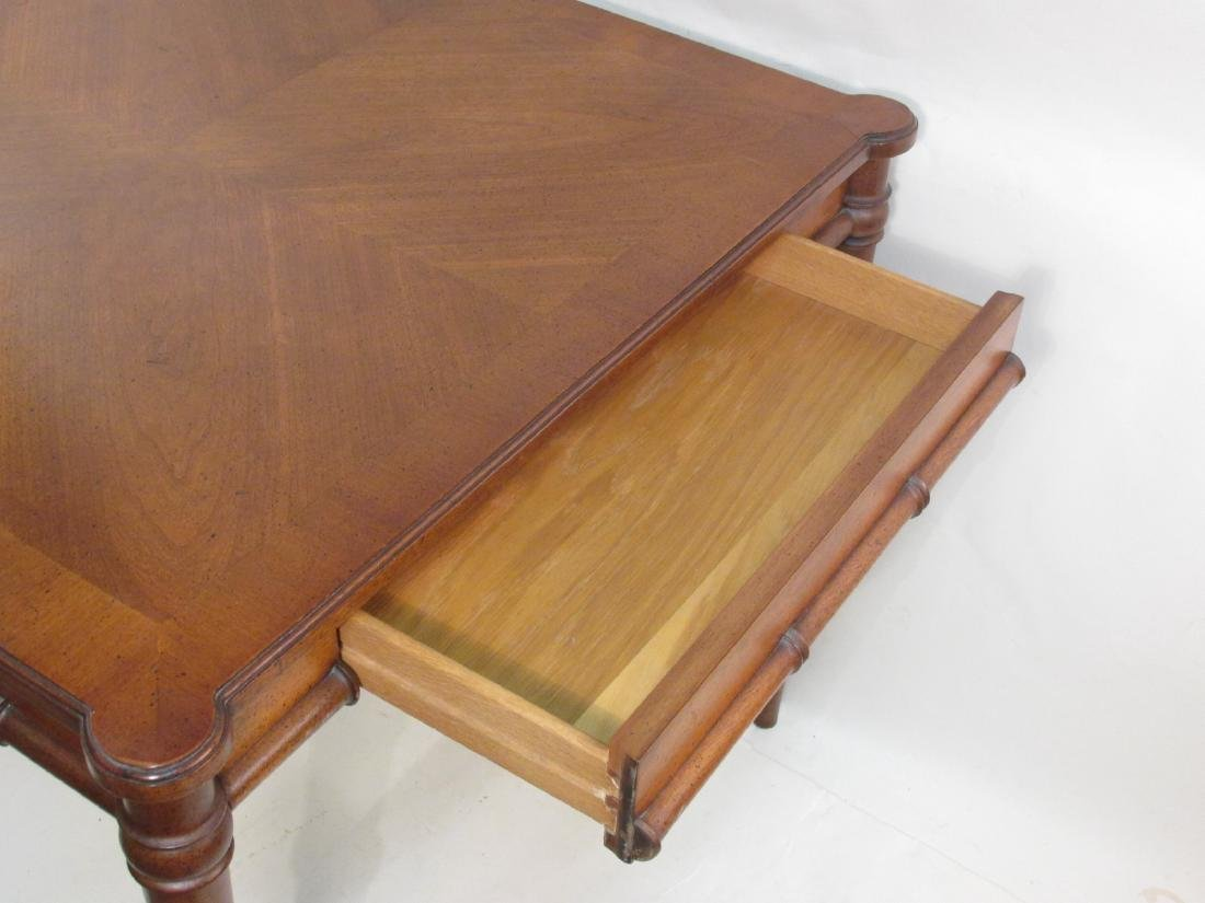 BAMBOO STYLE CARVED WALNUT CARD TABLE - 2