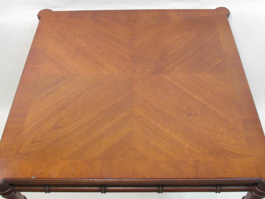 BAMBOO STYLE CARVED WALNUT CARD TABLE - 3