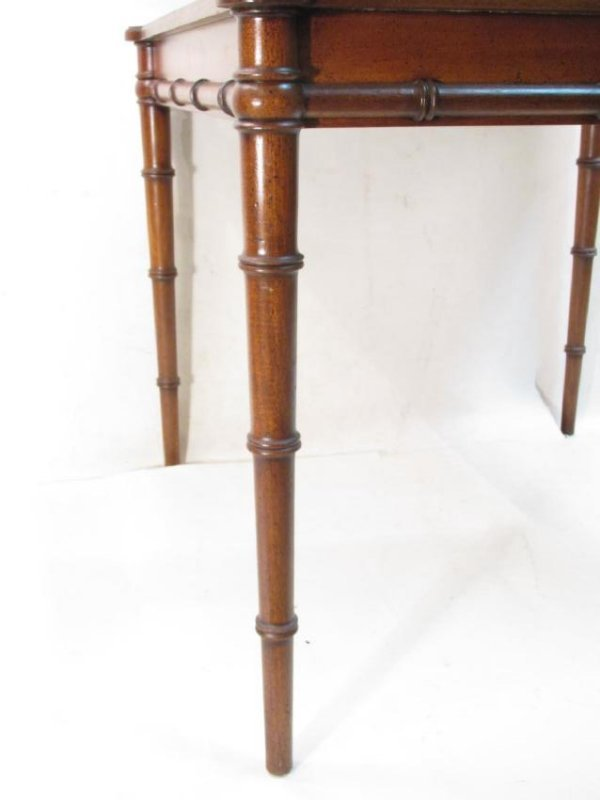 BAMBOO STYLE CARVED WALNUT CARD TABLE - 4