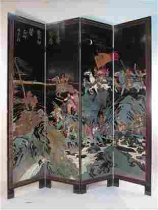 CHINESE HAND CARVED  PAINTED COROMANDEL SCREEN