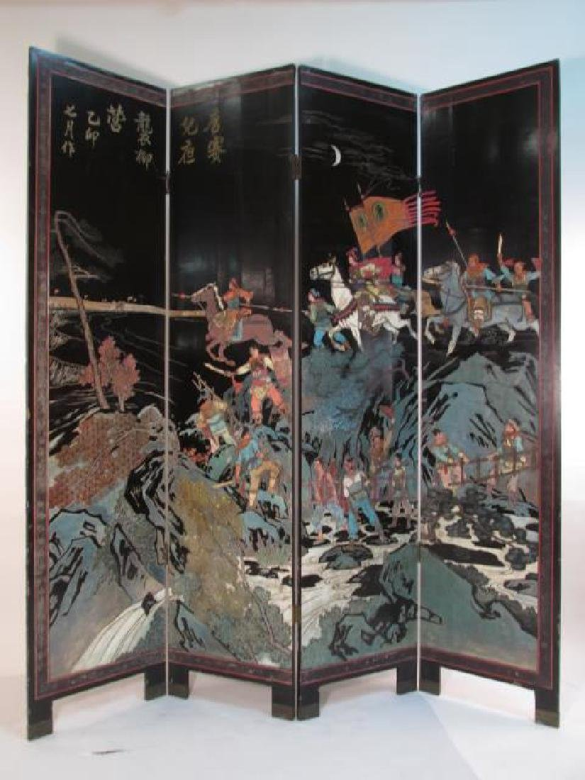 CHINESE HAND CARVED & PAINTED COROMANDEL SCREEN