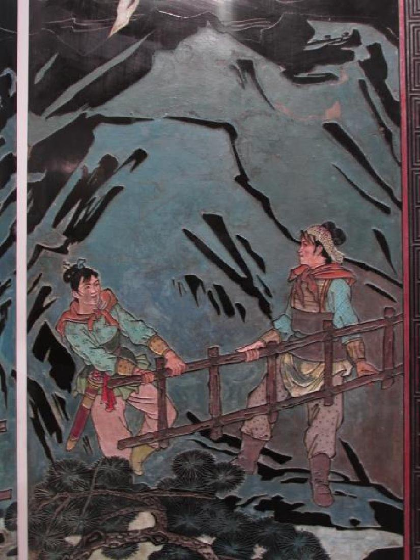 CHINESE HAND CARVED & PAINTED COROMANDEL SCREEN - 6