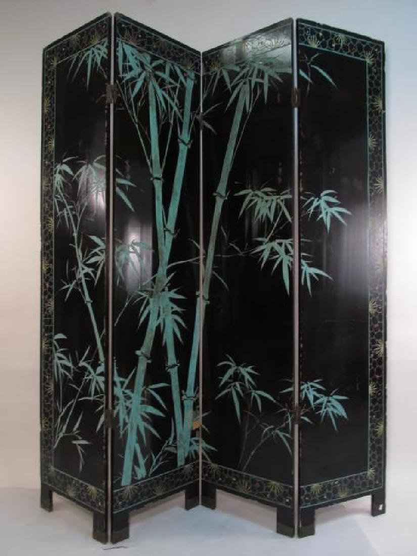 CHINESE HAND CARVED & PAINTED COROMANDEL SCREEN - 9