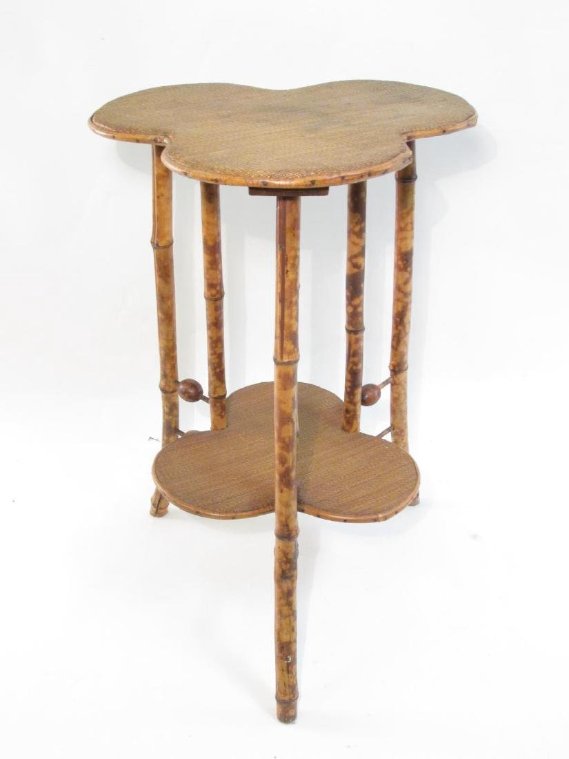 ANTIQUE VICTORIAN BAMBOO & CANEWORK SIDE TABLE