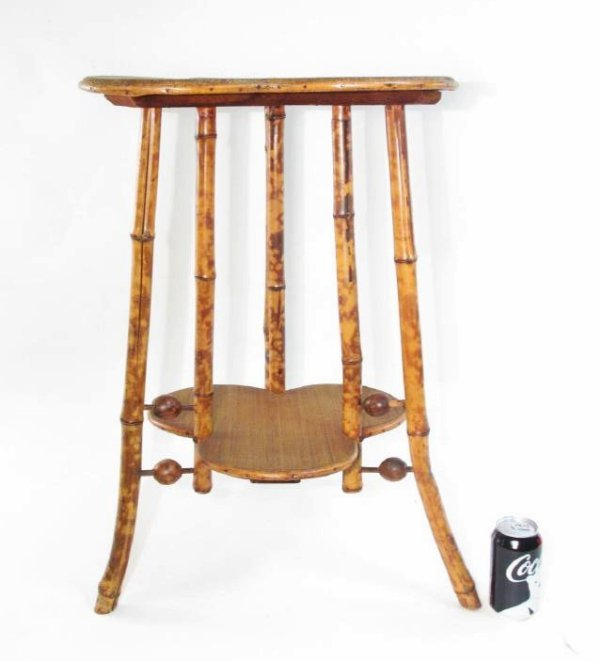 ANTIQUE VICTORIAN BAMBOO & CANEWORK SIDE TABLE - 4