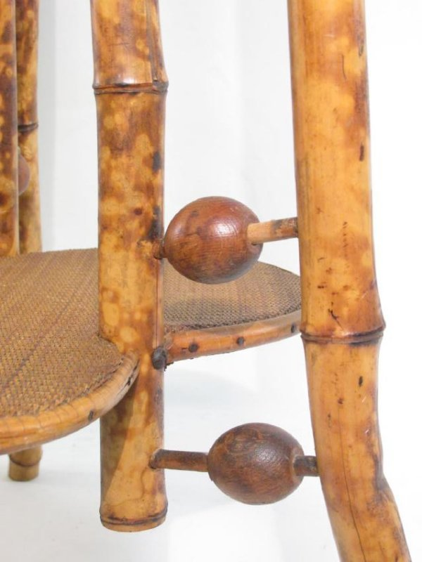 ANTIQUE VICTORIAN BAMBOO & CANEWORK SIDE TABLE - 5